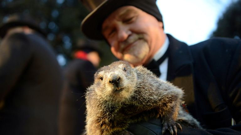 Handler John Griffiths introduces Punxsutawney Phil to the crowd at Gobbler's Knob on the 131st Groundhog Day in Punxsutawney, Pennsylvania, February 2, 2017