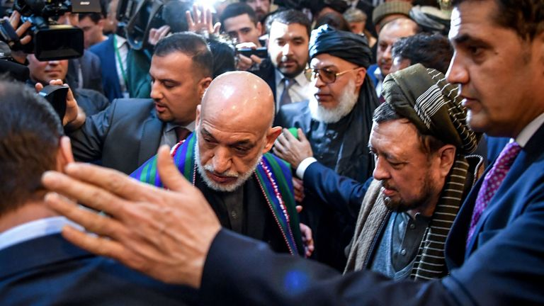 Former Afghan president Hamid Karzai arrives for peace talks in Moscow