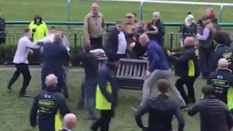 A mass brawl broke out at Haydock Park races. Pic: Oliver Hodgson/PA