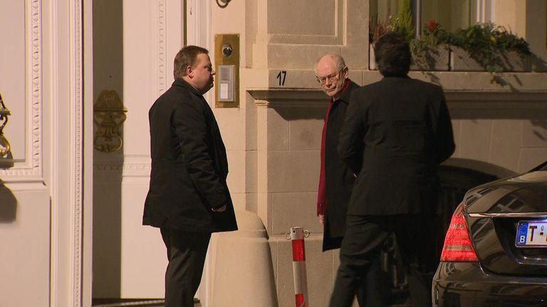 Sky cameras spotted Herman Van Rompuy attending a private dinner in Brussels