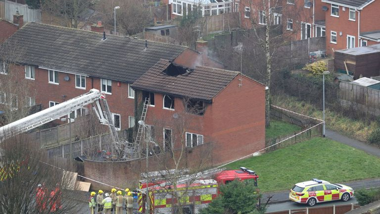 The fire tore through the roof of the house in the Highfields area of the town