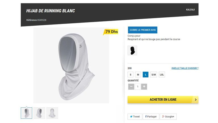 The running hijab is already on sale in Morocco. Pic: Decathlon website