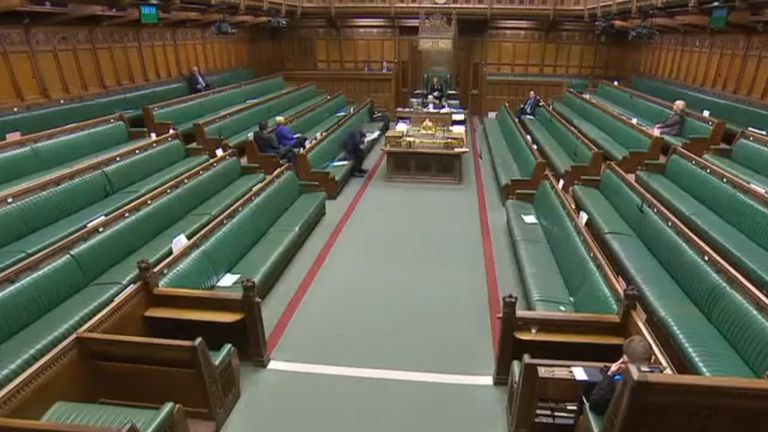 A near-empty House of Commons