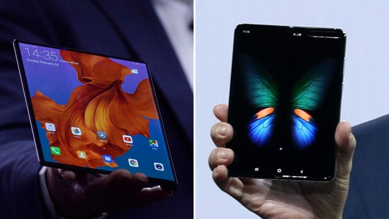 Huawei's Mate X (left) and Samsung's Galaxy fold (right)