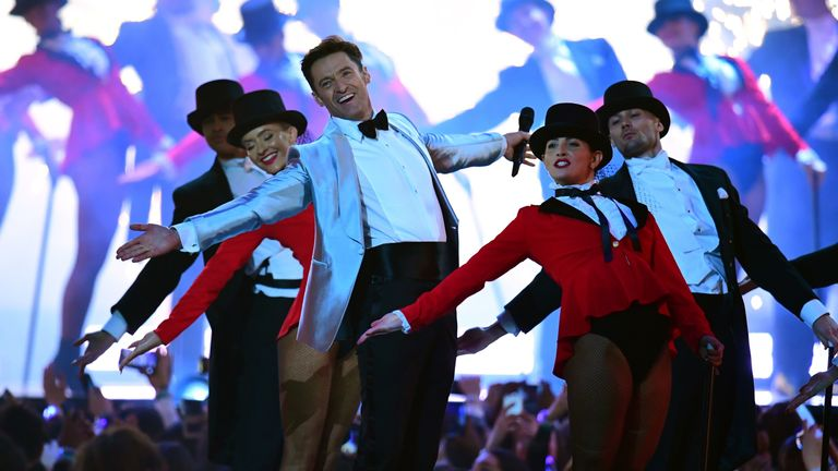 Hugh Jackman performed a Greatest Showman routine at the ceremony