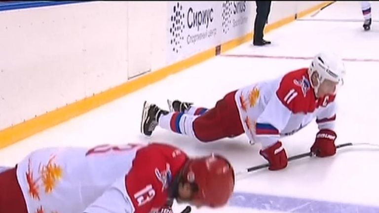 Vladimir Putin ice skating in Sochi