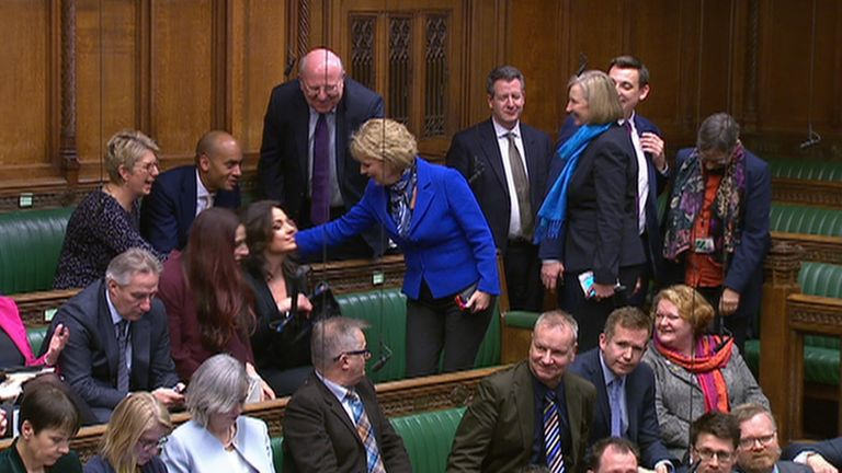 The independent group take their seats in the Commons