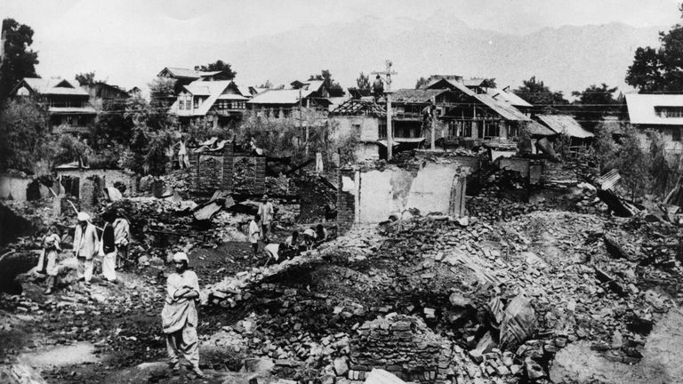 A Kashmiri village destroyed by Pakistani infiltrators during the second Indo-Pak war in 1965