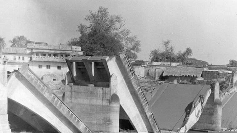 A bridge blown up in 1971 on the road between India and East Pakistan, which became Bangladesh at the end of the conflict