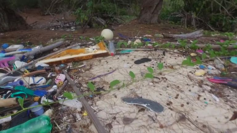 The island is littered with plastic waste