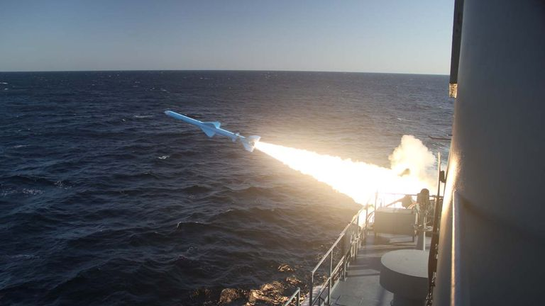 A missile being launched during the military drill. Pic: Iranian navy