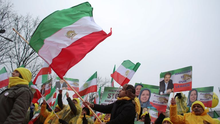 Iranian communities in Europe gather to protest human rights violations by the Iranian government