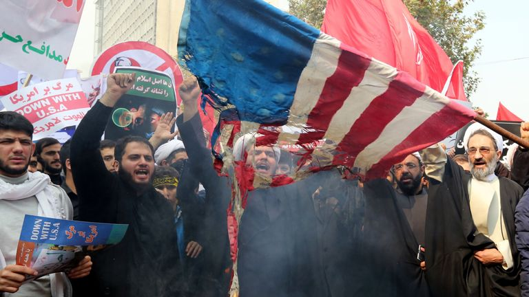 Iranians holding an anti-American protest