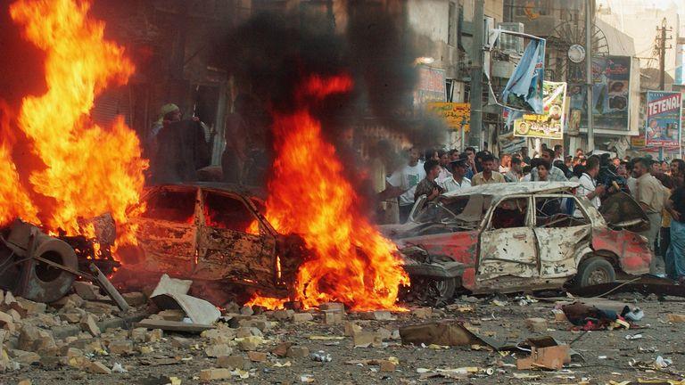 A car bomb attack in Iraq in 2004