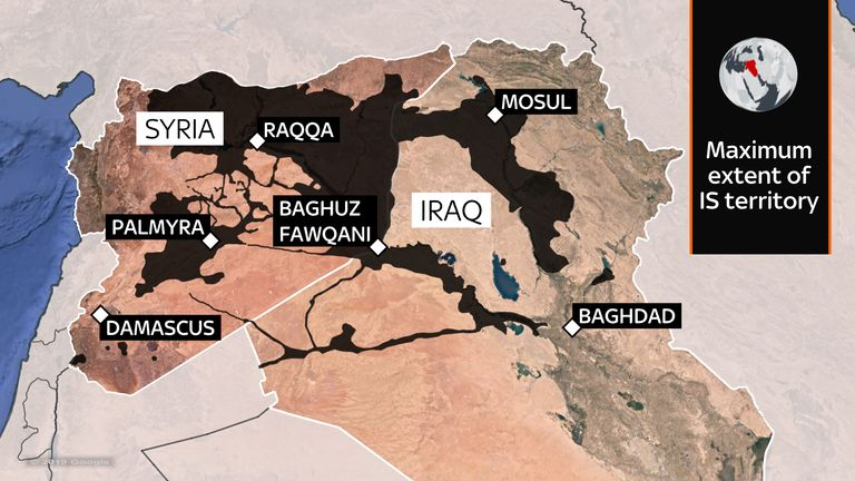 A map showing the maximum territory held by Islamic State