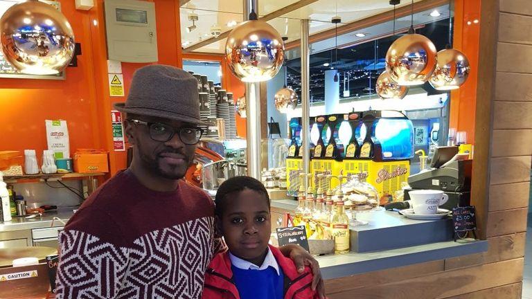 Jackson Yamba with his son David. Pic: TwitterJackson Yamba
