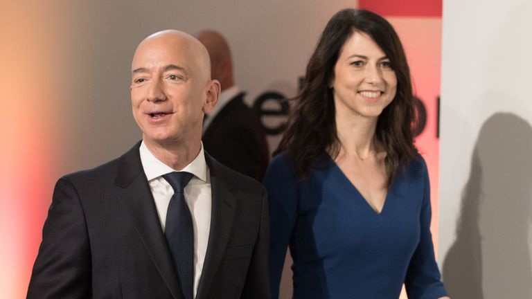 The Enquirer reported Mr Bezos sent 'gushing love notes' to Sanchez before he announced his split from his wife MacKenzie