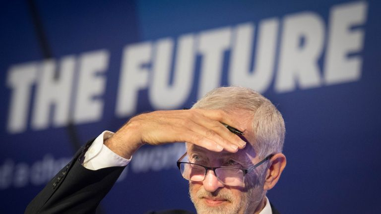 Labour Party leader Jeremy Corbyn speaking during the annual conference of the EEF manufacturers organisation at the Queen Elizabeth II Conference Centre, London.