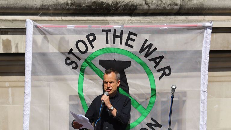 Jeremy Hardy reading some of the names of those who died in the Iraq war outside the Queen Elizabeth II Conference Centre, London, in 2016