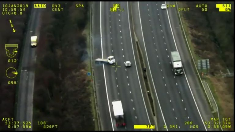 Taylor turns his truck around on the M18