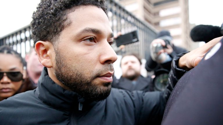 Jussie Smollett leaves court in Chicago