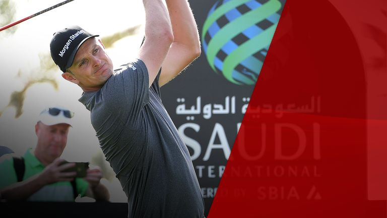 Justin Rose tees off during Day two of the Saudi International