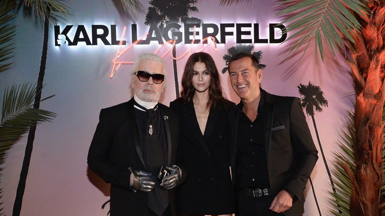 Lagerfeld, Kaia Gerber and Pier Paolo Righi at the launch of the Karl x Kaia collaboration