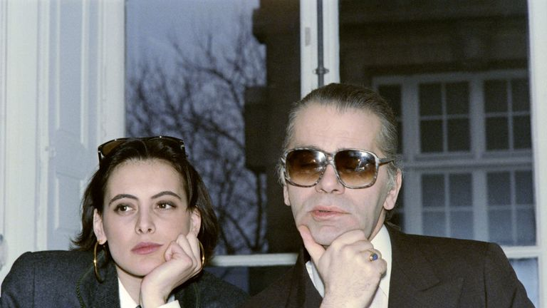 Ines de la Fressange (L) was one of Lagerfeld's first muses