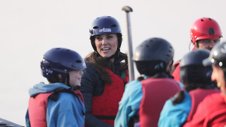 The Duchess of Cambridge takes part in a canoe lesson