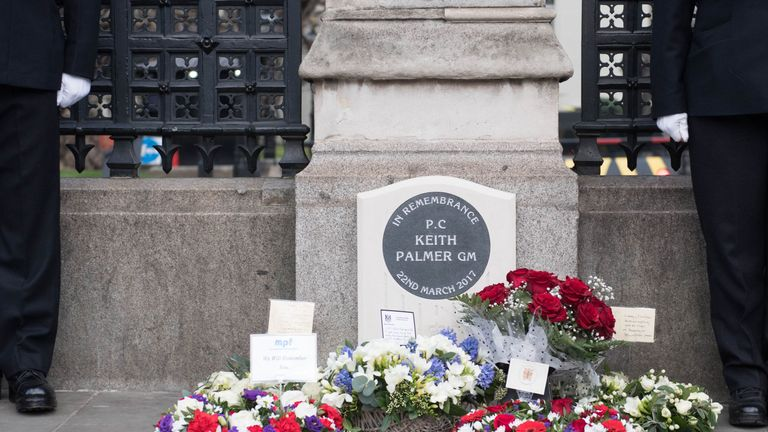 Flowers are at a memorial for PC Keith Palmer