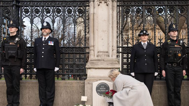 A wreath is laid at the memorial dedicated to PC Keith Palmer