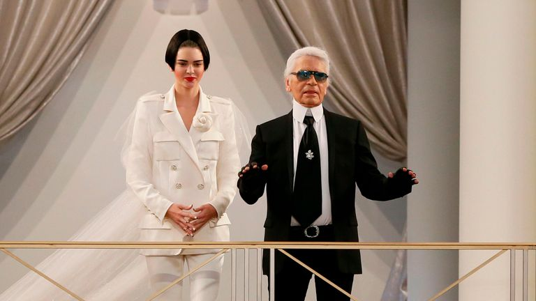 Kendall Jenner and Lagerfeld during the 2015-2016 fall/winter Haute Couture show