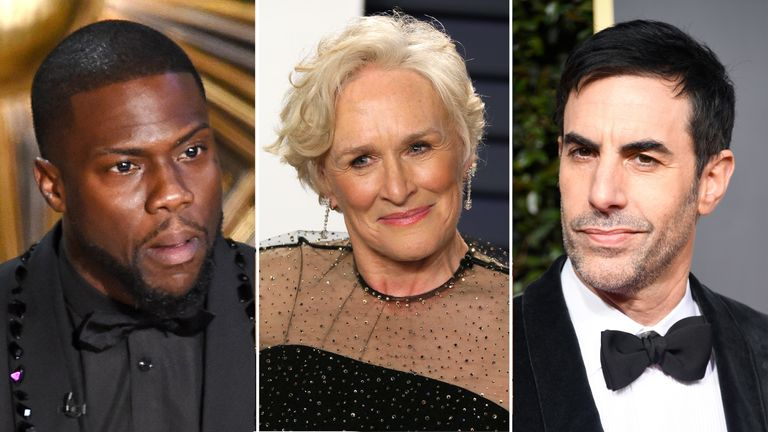 Kevin Hart, Glenn Close and Sacha Baron Cohen