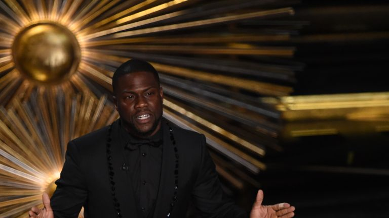 Kevin Hart, speaking on stage at the 2016 Oscars, was due to host this year's event