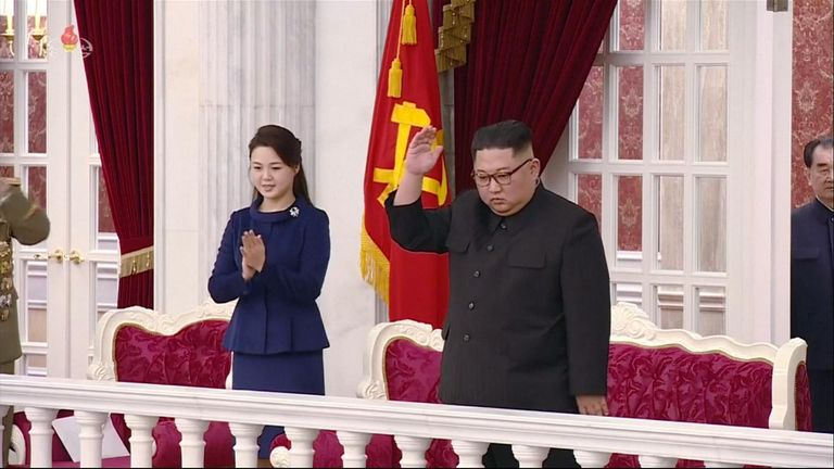 Kim Jong Un watching a concert of the State Merited Chorus with his wife Ri Sol Ju