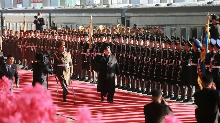 North Korean leader Kim Jong Un departs for a summit in Hanoi