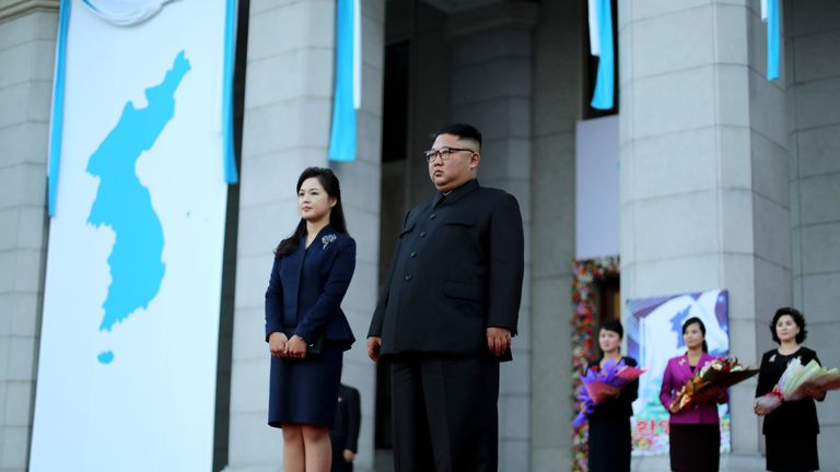 Ri Sol Ju stands at Kim Jong Un's side at a Korean summit in September 2018