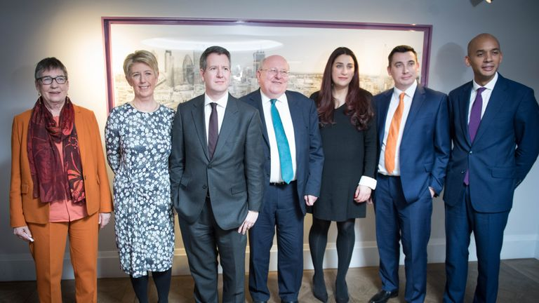 Labour MPs (left to right) Ann Coffey, Angela Smith, Chris Leslie, Mike Gapes, Luciana Berger, Gavin Shuker and Chuka Umunna quit the party on Monday