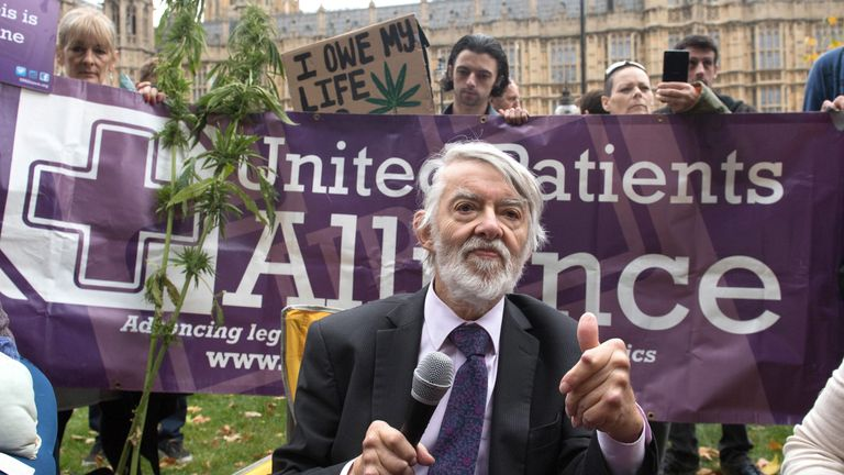 Labour MP Paul Flynn speaking at a cannabis tea party held by the United Patients Alliance outside the Houses of Parliament in London on February 17, 2019