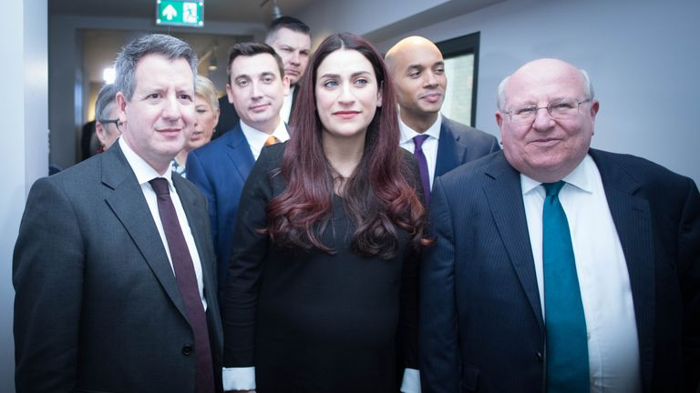 Labour MPs (left to right) Chris Leslie (Ann Coffey, Angela Smith, (both hidden left), Gavin Shuker, Luciana Berger, Chuka Umunna and Mike Gapes