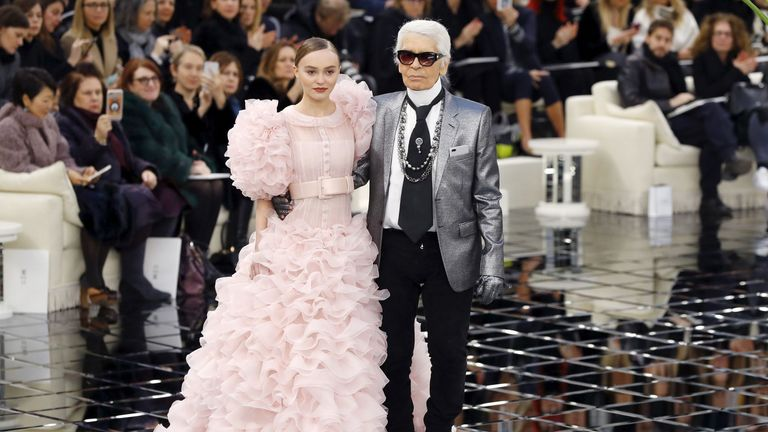The German fashion designer posing with Lily Rose Depp during the 2017 spring/summer Haute Couture show