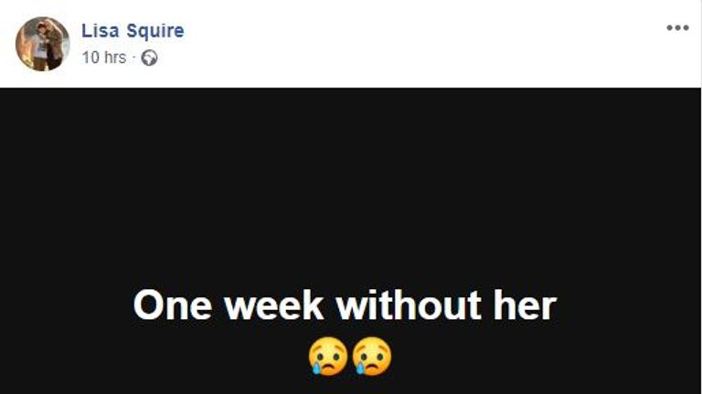 Lisa Squire has posted a message expressing her pain a week after her daughter's disappearance