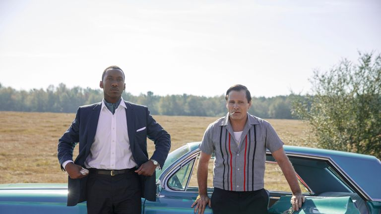 Mahershala Ali as Dr Donald Shirley and Viggo Mortensen as Tony Vallelonga in Green Book, directed by Peter Farrelly