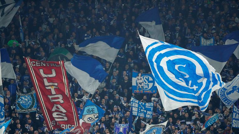 Schalke fans during their Champions League tie with Manchester City