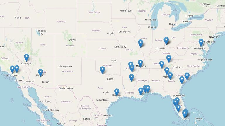 An updated FBI map showing the locations where Little killed his victims, according to his confessions