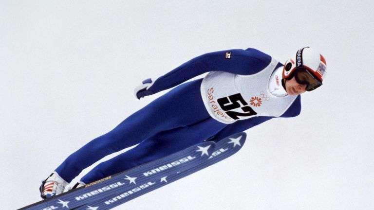 Matti Nykänen full flow in the 90m ski jump at the 1984 Sarajevo Winter Olympics