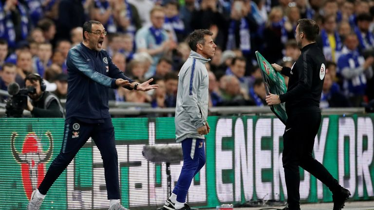 Maurizio Sarri reacts after Kepa Arrizabalaga (not pictured) refuses to be substituted
