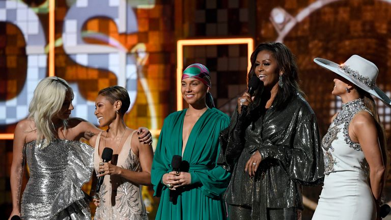 Lady Gaga, Jada Pinkett Smith, Alicia Keys, Michelle Obama, and Jennifer Lopez