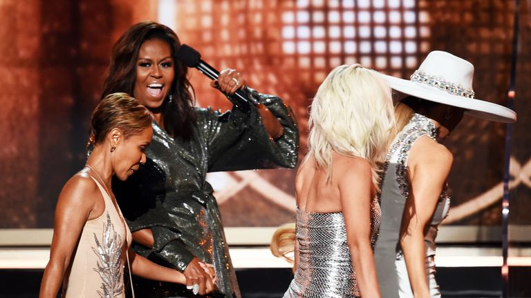 Jada Pinkett Smith, Michelle Obama, Lady Gaga, and Jennifer Lopez at the Grammys