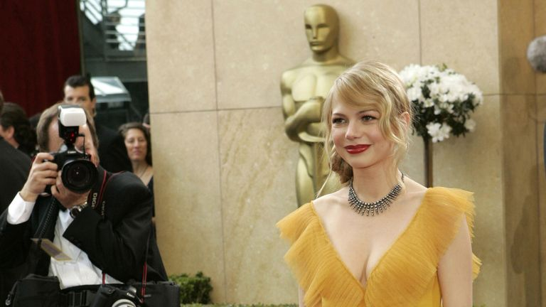 Best supporting actress nominee Michelle Williams at the 78th Oscars in 2006, wearing a dress designed by Vera Wang